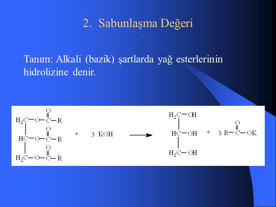 2. Sabunlaşma Değeri Tanım: Alkali (bazik) şartlarda yağ esterlerinin hidrolizine denir.