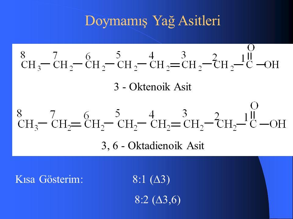 Doymamış Yağ Asitleri 3 - Oktenoik Asit 3, 6 - Oktadienoik Asit Kısa Gösterim:8:1 (  3) 8:2 (  3,6)