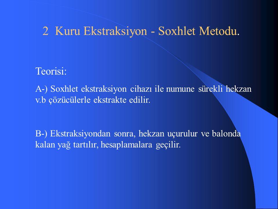 2 Kuru Ekstraksiyon - Soxhlet Metodu.