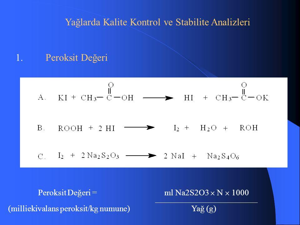 Yağlarda Kalite Kontrol ve Stabilite Analizleri 1.Peroksit Değeri Peroksit Değeri = ml Na2S2O3  N  1000 (milliekivalans peroksit/kg numune) Yağ (g)