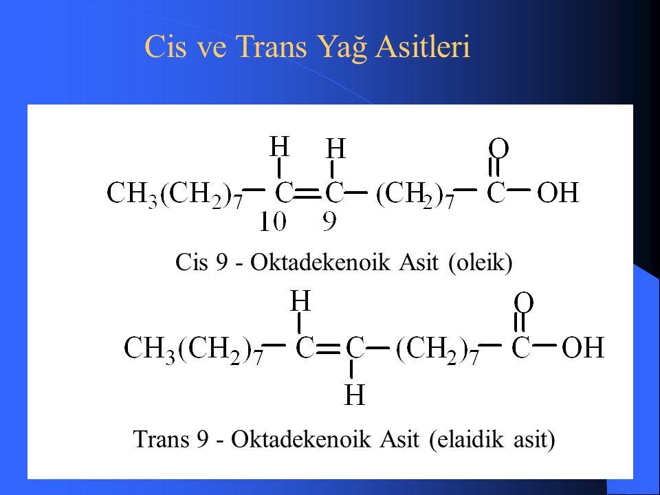Cis 9 - Oktadekenoik Asit (oleik) Trans 9 - Oktadekenoik Asit (elaidik asit) Cis ve Trans Yağ Asitleri
