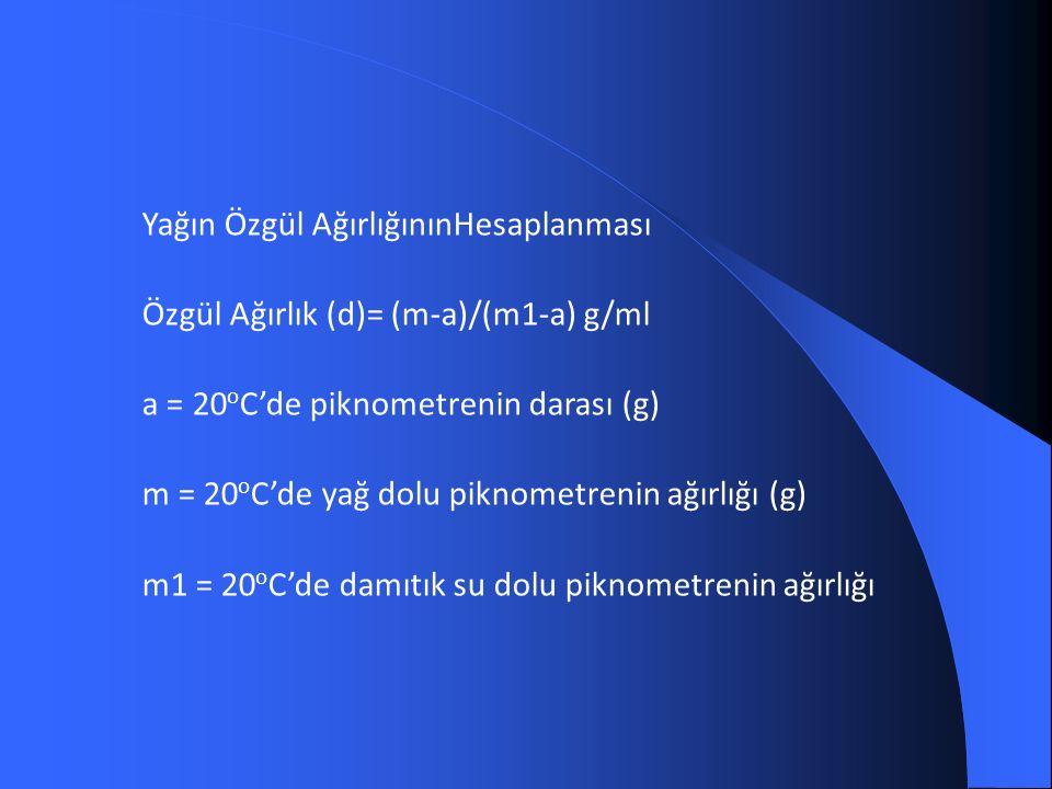 Yağın Özgül AğırlığınınHesaplanması Özgül Ağırlık (d)= (m-a)/(m1-a) g/ml a = 20 o C'de piknometrenin darası (g) m = 20 o C'de yağ dolu piknometrenin ağırlığı (g) m1 = 20 o C'de damıtık su dolu piknometrenin ağırlığı