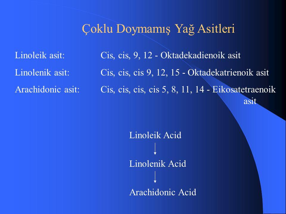 Çoklu Doymamış Yağ Asitleri Linoleik asit:Cis, cis, 9, 12 - Oktadekadienoik asit Linolenik asit: Cis, cis, cis 9, 12, 15 - Oktadekatrienoik asit Arachidonic asit:Cis, cis, cis, cis 5, 8, 11, 14 - Eikosatetraenoik asit Linoleik Acid Linolenik Acid Arachidonic Acid