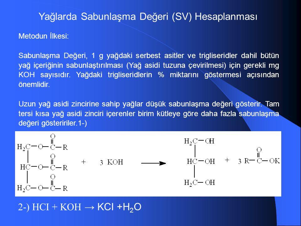 Yağlarda Sabunlaşma Değeri (SV) Hesaplanması Metodun İlkesi: Sabunlaşma Değeri, 1 g yağdaki serbest asitler ve trigliseridler dahil bütün yağ içeriğinin sabunlaştırılması (Yağ asidi tuzuna çevirilmesi) için gerekli mg KOH sayısıdır.