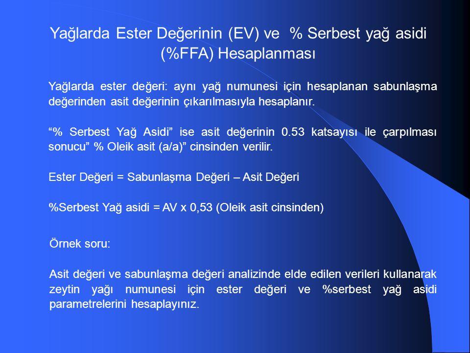 Yağlarda Ester Değerinin (EV) ve % Serbest yağ asidi (%FFA) Hesaplanması Yağlarda ester değeri: aynı yağ numunesi için hesaplanan sabunlaşma değerinden asit değerinin çıkarılmasıyla hesaplanır.