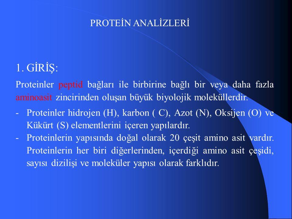 PROTEİN ANALİZLERİ 1.GİRİŞ: Proteinler peptid bağları ile birbirine bağlı bir veya daha fazla aminoasit zincirinden oluşan büyük biyolojik moleküllerdir.