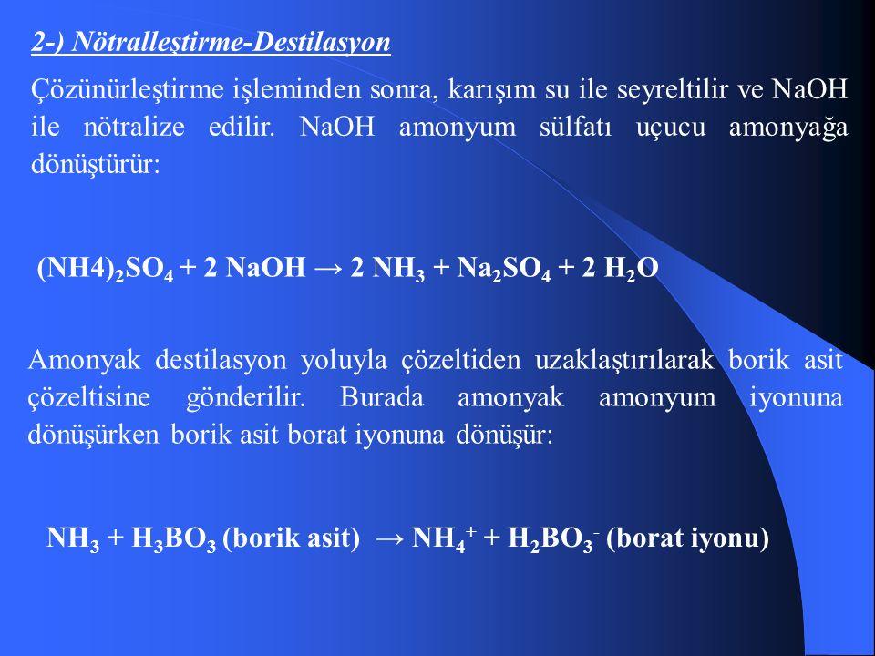 2-) Nötralleştirme-Destilasyon Çözünürleştirme işleminden sonra, karışım su ile seyreltilir ve NaOH ile nötralize edilir.