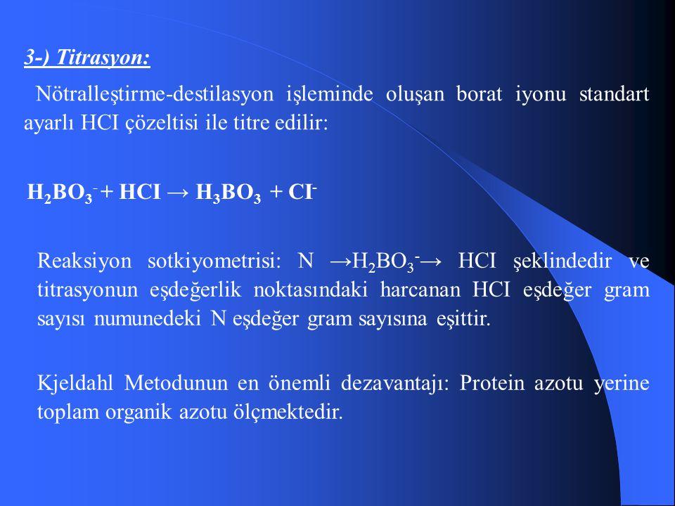 3-) Titrasyon: Nötralleştirme-destilasyon işleminde oluşan borat iyonu standart ayarlı HCI çözeltisi ile titre edilir: H 2 BO 3 - + HCI → H 3 BO 3 + CI - Reaksiyon sotkiyometrisi: N → H 2 BO 3 - → HCI şeklindedir ve titrasyonun eşdeğerlik noktasındaki harcanan HCI eşdeğer gram sayısı numunedeki N eşdeğer gram sayısına eşittir.
