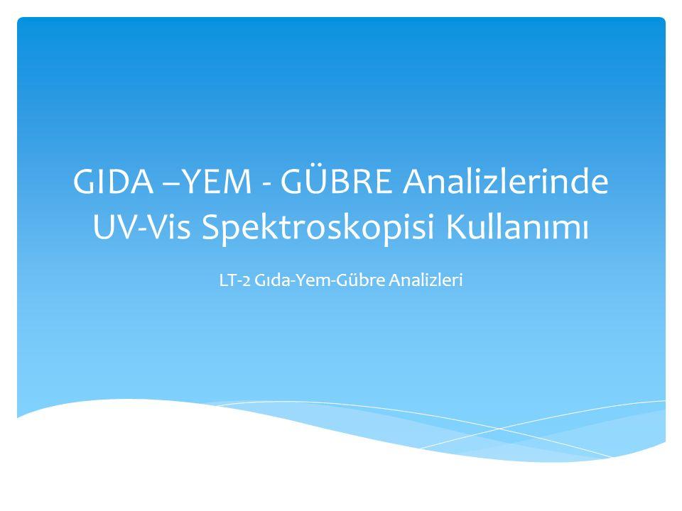 GIDA –YEM - GÜBRE Analizlerinde UV-Vis Spektroskopisi Kullanımı LT-2 Gıda-Yem-Gübre Analizleri