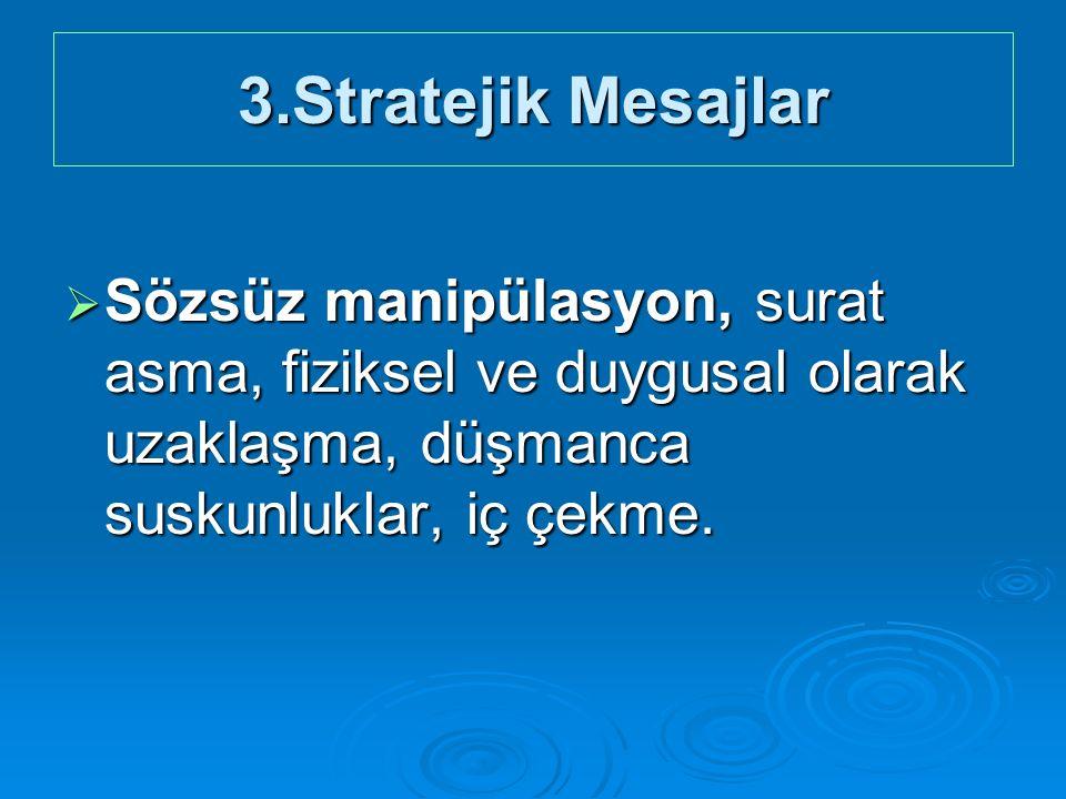 3.Stratejik Mesajlar  Sözsüz manipülasyon, surat asma, fiziksel ve duygusal olarak uzaklaşma, düşmanca suskunluklar, iç çekme.