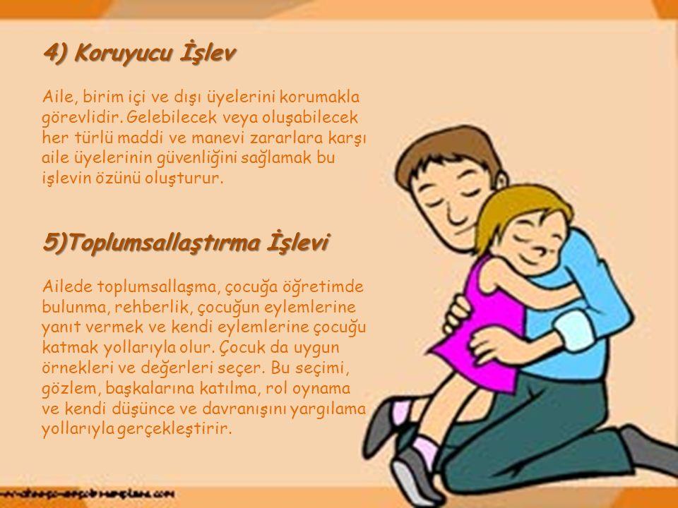 4) Koruyucu İşlev Aile, birim içi ve dışı üyelerini korumakla görevlidir.