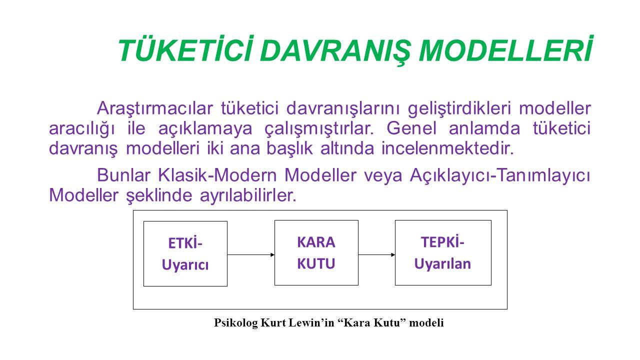 TÜKETİCİ DAVRANIŞ MODELLERİ Araştırmacılar tüketici davranışlarını geliştirdikleri modeller aracılığı ile açıklamaya çalışmıştırlar. Genel anlamda tük