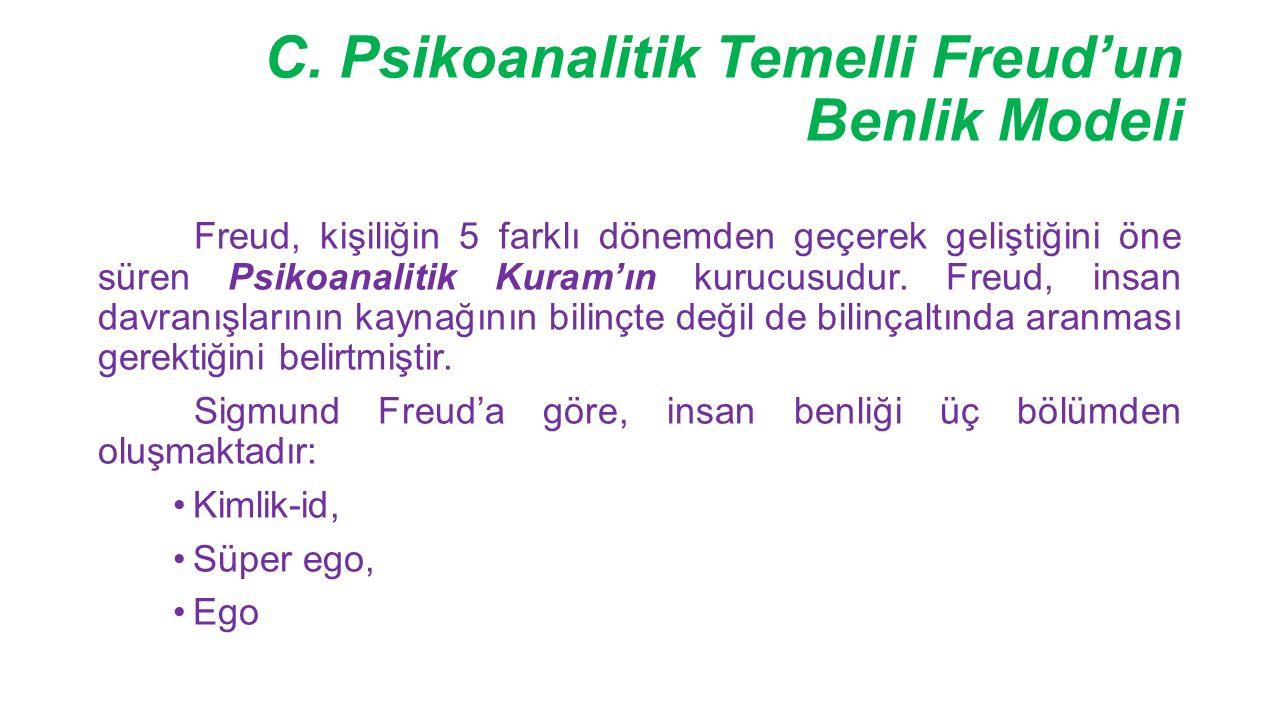 C. Psikoanalitik Temelli Freud'un Benlik Modeli Freud, kişiliğin 5 farklı dönemden geçerek geliştiğini öne süren Psikoanalitik Kuram'ın kurucusudur. F