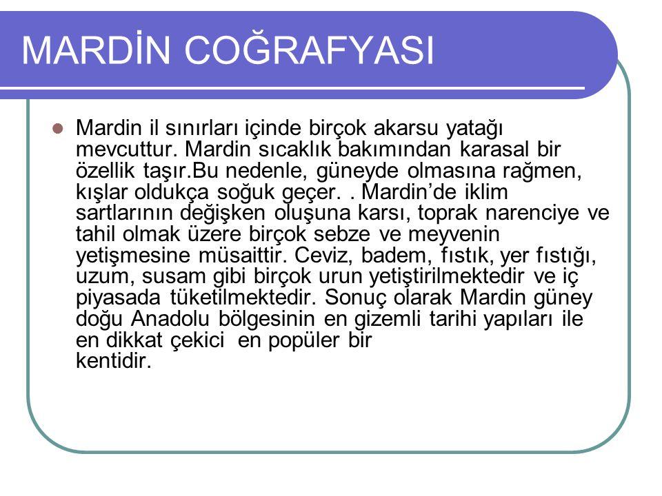 MARDİN COĞRAFYASI Mardin il sınırları içinde birçok akarsu yatağı mevcuttur.