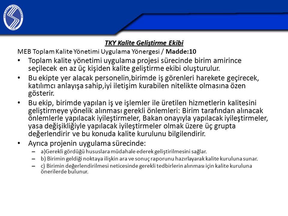 TKY Kalite Geliştirme Ekibi MEB Toplam Kalite Yönetimi Uygulama Yönergesi / Madde:10 Toplam kalite yönetimi uygulama projesi sürecinde birim amirince