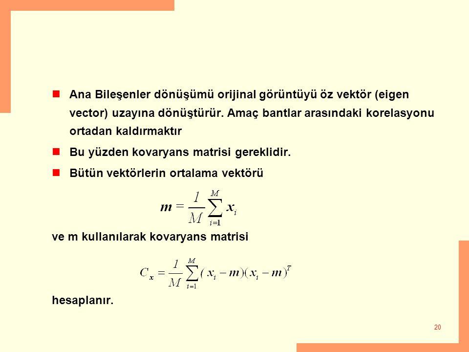 20 Ana Bileşenler dönüşümü orijinal görüntüyü öz vektör (eigen vector) uzayına dönüştürür. Amaç bantlar arasındaki korelasyonu ortadan kaldırmaktır Bu