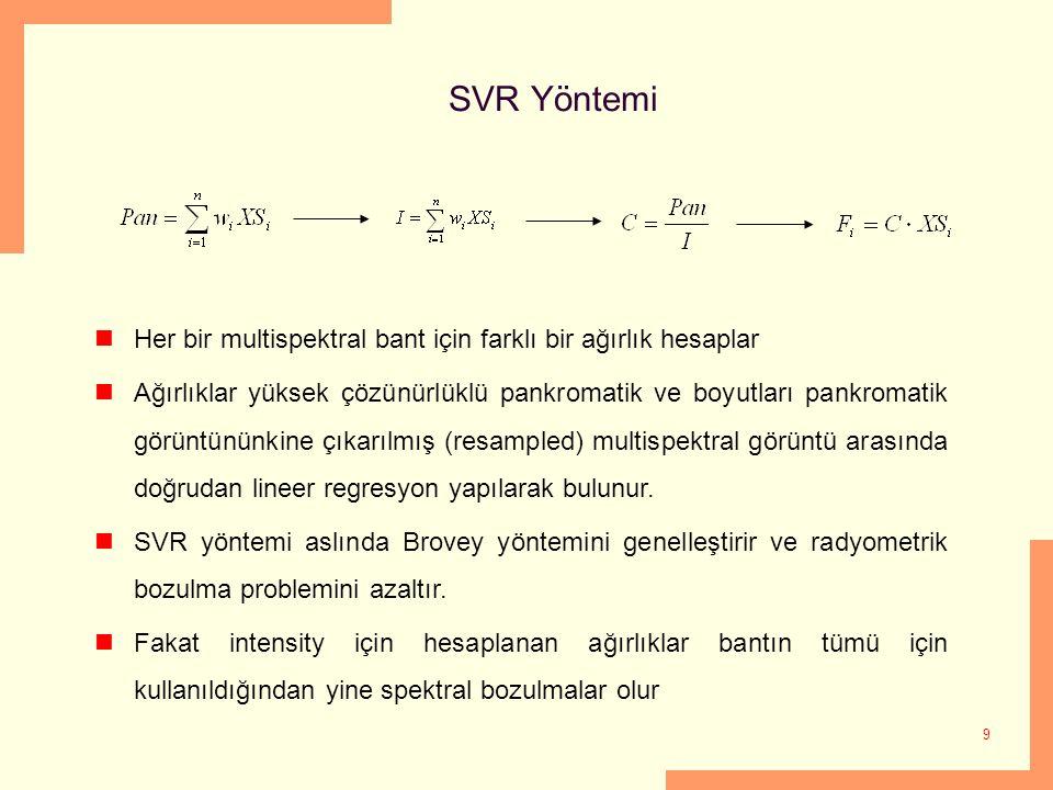 9 SVR Yöntemi Her bir multispektral bant için farklı bir ağırlık hesaplar Ağırlıklar yüksek çözünürlüklü pankromatik ve boyutları pankromatik görüntün