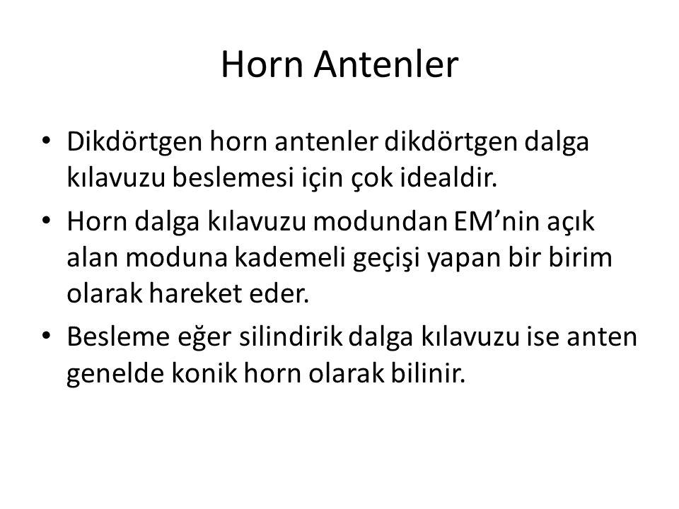 Horn Antenler Dikdörtgen horn antenler dikdörtgen dalga kılavuzu beslemesi için çok idealdir. Horn dalga kılavuzu modundan EM'nin açık alan moduna kad