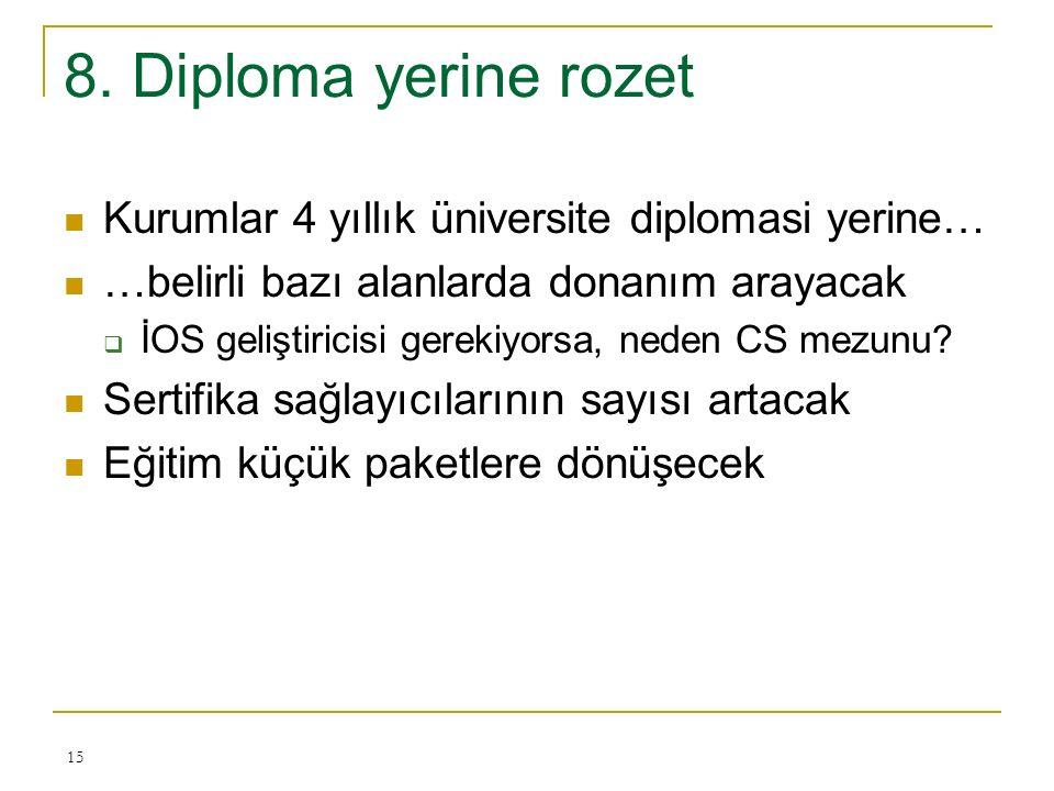 8. Diploma yerine rozet Kurumlar 4 yıllık üniversite diplomasi yerine… …belirli bazı alanlarda donanım arayacak  İOS geliştiricisi gerekiyorsa, neden