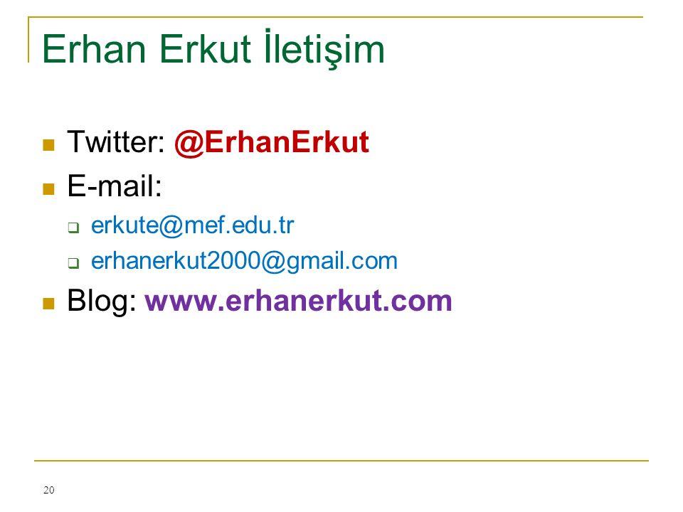 Erhan Erkut İletişim Twitter: @ErhanErkut E-mail:  erkute@mef.edu.tr  erhanerkut2000@gmail.com Blog: www.erhanerkut.com 20