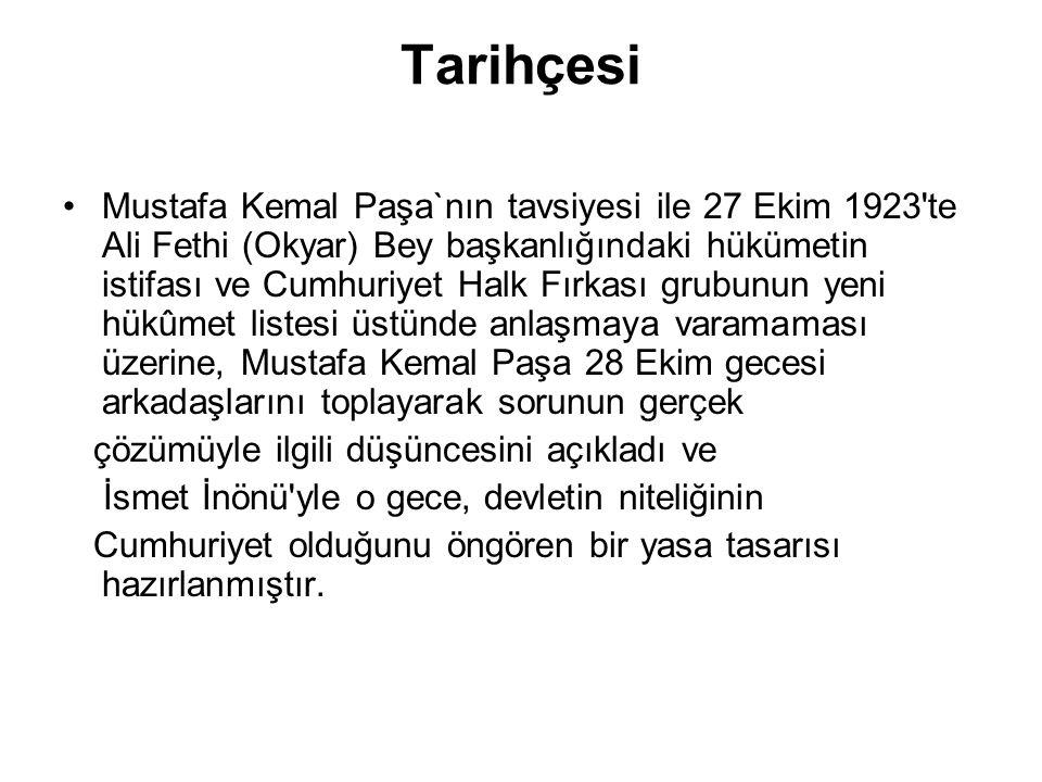Tarihçesi Mustafa Kemal Paşa`nın tavsiyesi ile 27 Ekim 1923'te Ali Fethi (Okyar) Bey başkanlığındaki hükümetin istifası ve Cumhuriyet Halk Fırkası gru