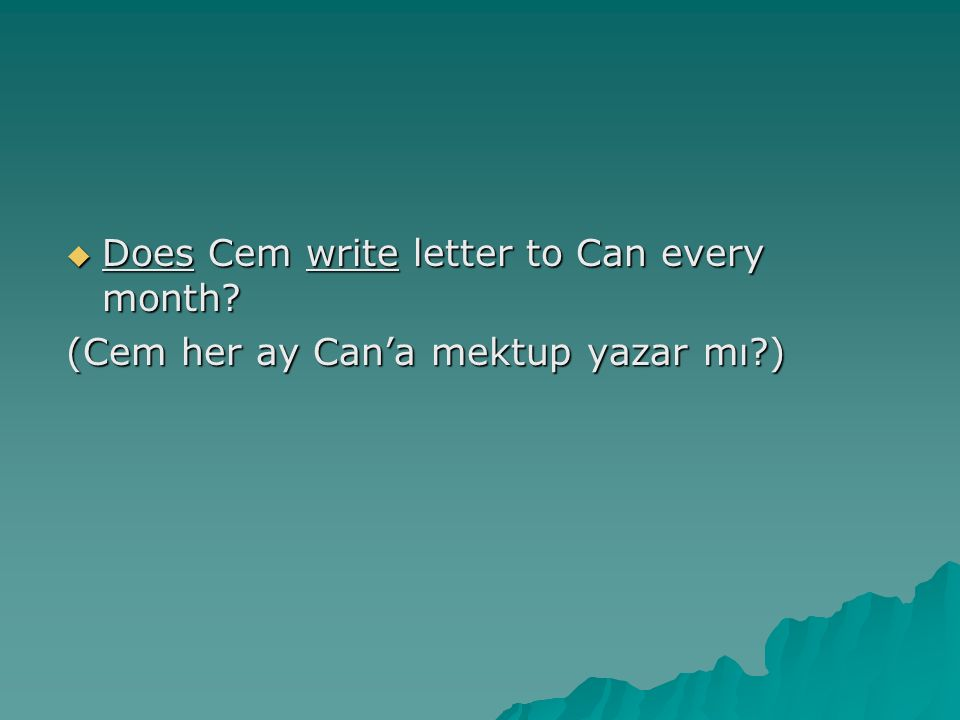  Does Cem write letter to Can every month? (Cem her ay Can'a mektup yazar mı?)