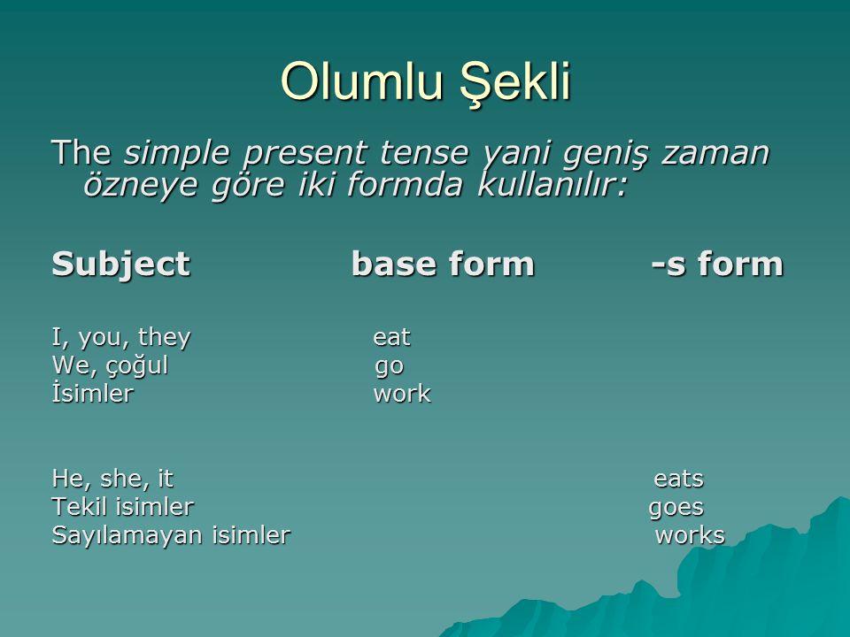 Olumlu Şekli The simple present tense yani geniş zaman özneye göre iki formda kullanılır: Subject base form -s form I, you, they eat We, çoğul go İsim