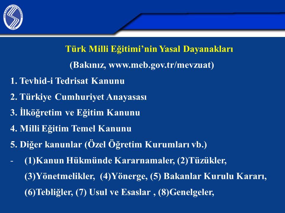 Türk Milli Eğitimi'nin Yasal Dayanakları (Bakınız, www.meb.gov.tr/mevzuat) 1. Tevhid-i Tedrisat Kanunu 2. Türkiye Cumhuriyet Anayasası 3. İlköğretim v