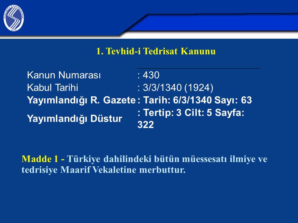 1. Tevhid-i Tedrisat Kanunu Kanun Numarası : 430 Kabul Tarihi : 3/3/1340 (1924) Yayımlandığı R. Gazete: Tarih: 6/3/1340 Sayı: 63 Yayımlandığı Düstur :