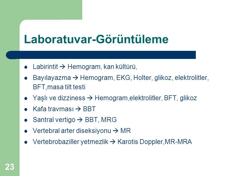 Laboratuvar-Görüntüleme Labirintit  Hemogram, kan kültürü, Bayılayazma  Hemogram, EKG, Holter, glikoz, elektrolitler, BFT,masa tilt testi Yaşlı ve dizziness  Hemogram,elektrolitler, BFT, glikoz Kafa travması  BBT Santral vertigo  BBT, MRG Vertebral arter diseksiyonu  MR Vertebrobaziller yetmezlik  Karotis Doppler,MR-MRA 23