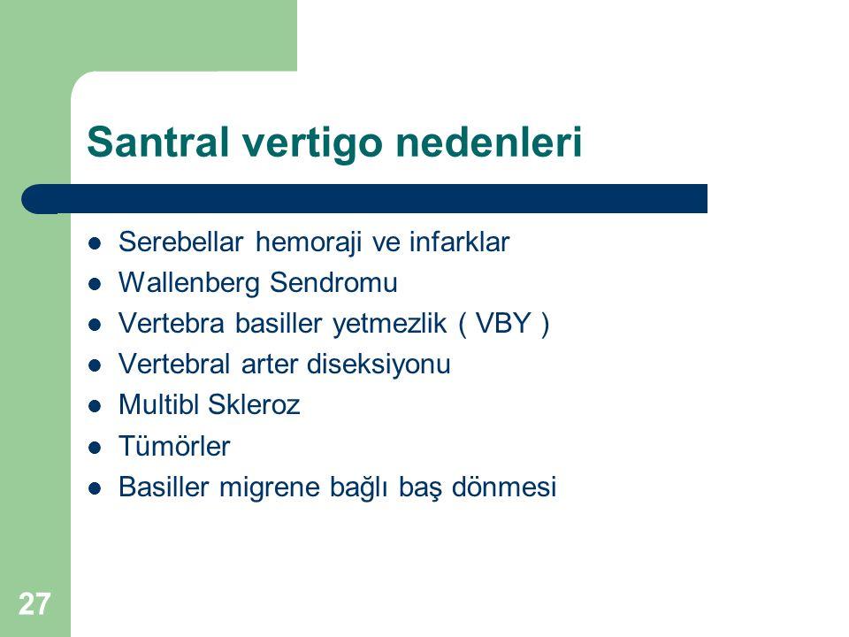 Santral vertigo nedenleri Serebellar hemoraji ve infarklar Wallenberg Sendromu Vertebra basiller yetmezlik ( VBY ) Vertebral arter diseksiyonu Multibl Skleroz Tümörler Basiller migrene bağlı baş dönmesi 27