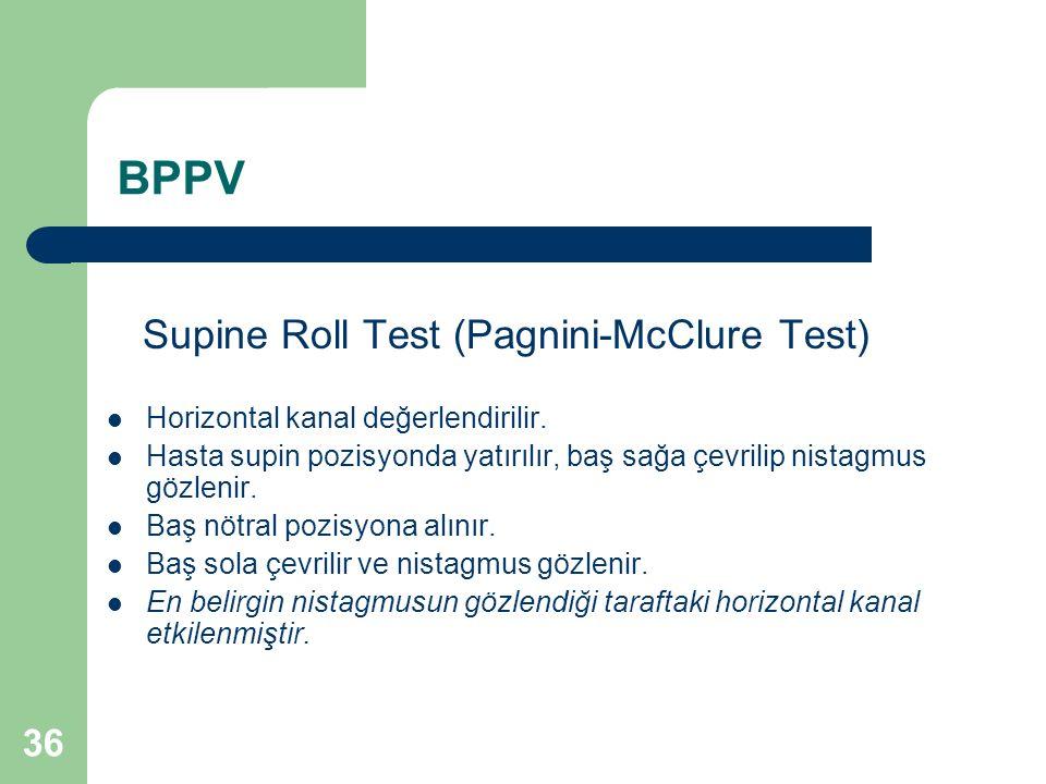 BPPV Supine Roll Test (Pagnini-McClure Test) Horizontal kanal değerlendirilir.