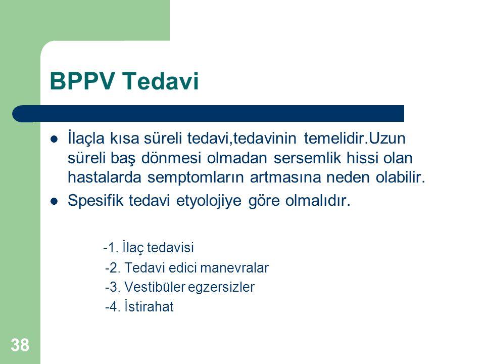 BPPV Tedavi İlaçla kısa süreli tedavi,tedavinin temelidir.Uzun süreli baş dönmesi olmadan sersemlik hissi olan hastalarda semptomların artmasına neden olabilir.