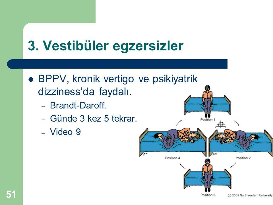 3. Vestibüler egzersizler BPPV, kronik vertigo ve psikiyatrik dizziness'da faydalı.