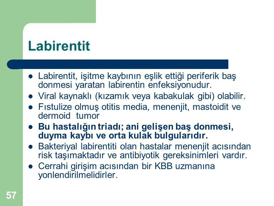Labirentit Labirentit, işitme kaybının eşlik ettiği periferik baş donmesi yaratan labirentin enfeksiyonudur.