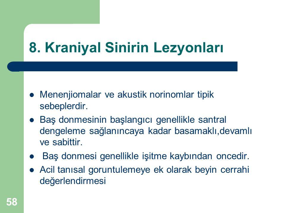 8. Kraniyal Sinirin Lezyonları Menenjiomalar ve akustik norinomlar tipik sebeplerdir.