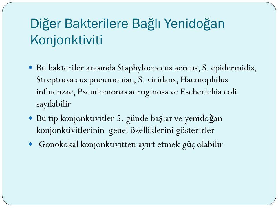 Diğer Bakterilere Bağlı Yenidoğan Konjonktiviti Bu bakteriler arasında Staphylococcus aereus, S. epidermidis, Streptococcus pneumoniae, S. viridans, H