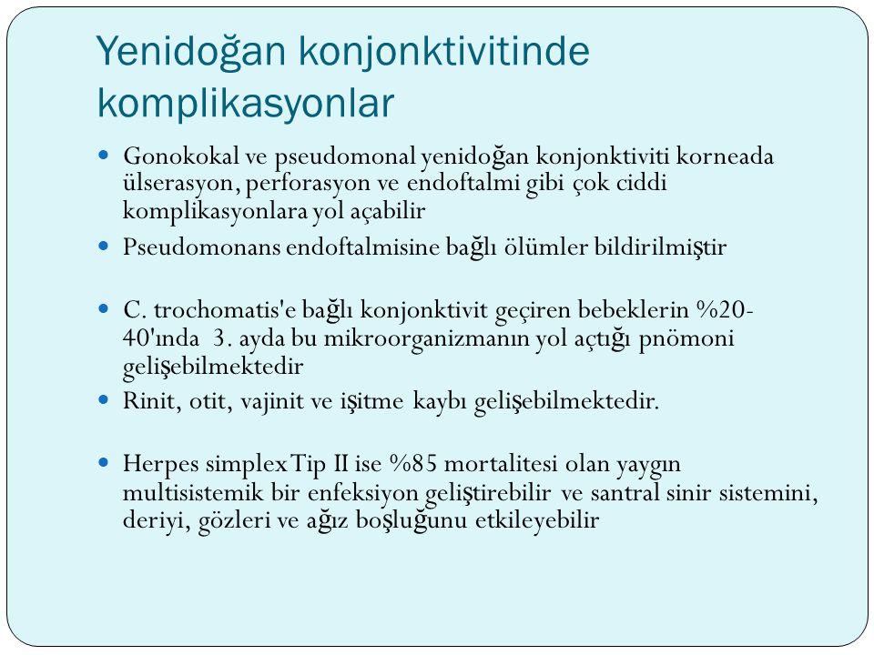 Yenidoğan konjonktivitinde komplikasyonlar Gonokokal ve pseudomonal yenido ğ an konjonktiviti korneada ülserasyon, perforasyon ve endoftalmi gibi çok