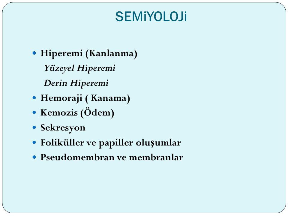SEMiYOLOJi Hiperemi (Kanlanma) Yüzeyel Hiperemi Derin Hiperemi Hemoraji ( Kanama) Kemozis (Ödem) Sekresyon Foliküller ve papiller olu ş umlar Pseudome