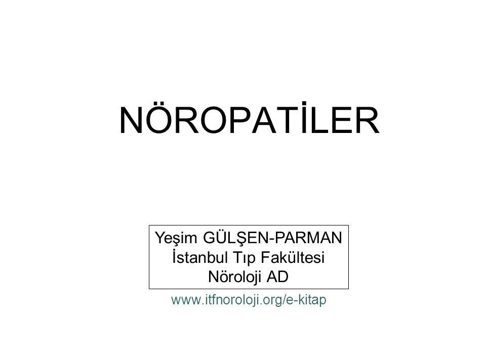 NÖROPATİLER Yeşim GÜLŞEN-PARMAN İstanbul Tıp Fakültesi Nöroloji AD www.itfnoroloji.org/e-kitap