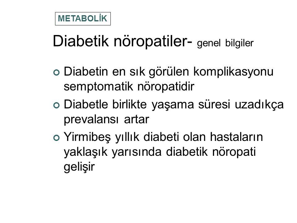 Diabetik nöropatiler- genel bilgiler Diabetin en sık görülen komplikasyonu semptomatik nöropatidir Diabetle birlikte yaşama süresi uzadıkça prevalansı
