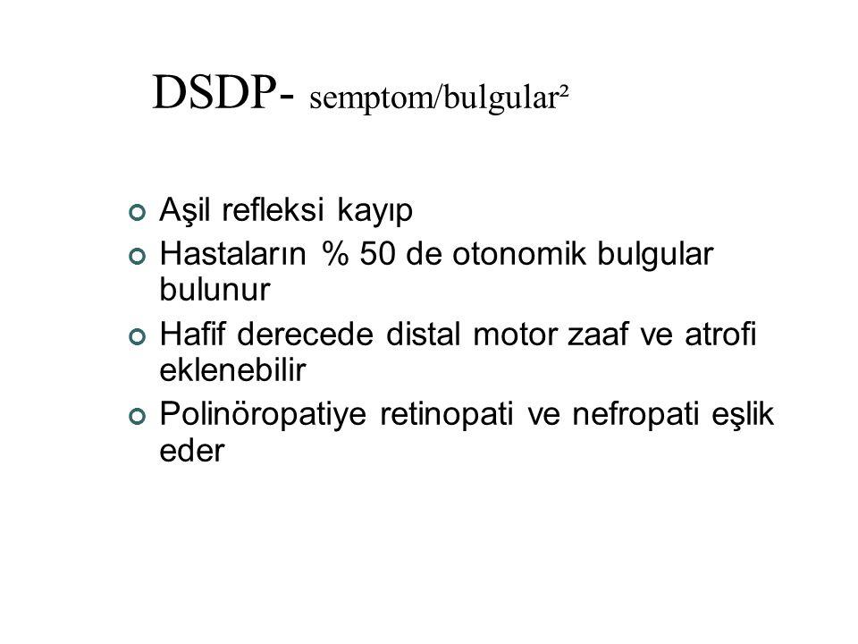DSDP- semptom/bulgular² Aşil refleksi kayıp Hastaların % 50 de otonomik bulgular bulunur Hafif derecede distal motor zaaf ve atrofi eklenebilir Polinö