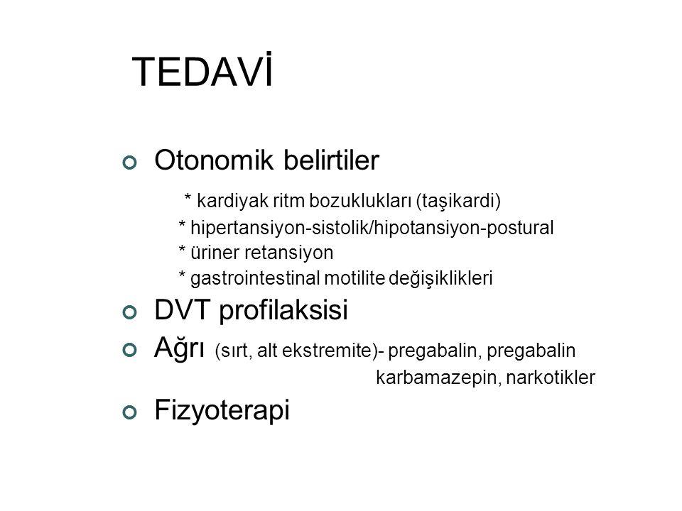 TEDAVİ Otonomik belirtiler * kardiyak ritm bozuklukları (taşikardi) * hipertansiyon-sistolik/hipotansiyon-postural * üriner retansiyon * gastrointesti