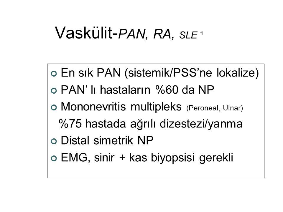 Vaskülit- PAN, RA, SLE ¹ En sık PAN (sistemik/PSS'ne lokalize) PAN' lı hastaların %60 da NP Mononevritis multipleks (Peroneal, Ulnar) %75 hastada ağrı