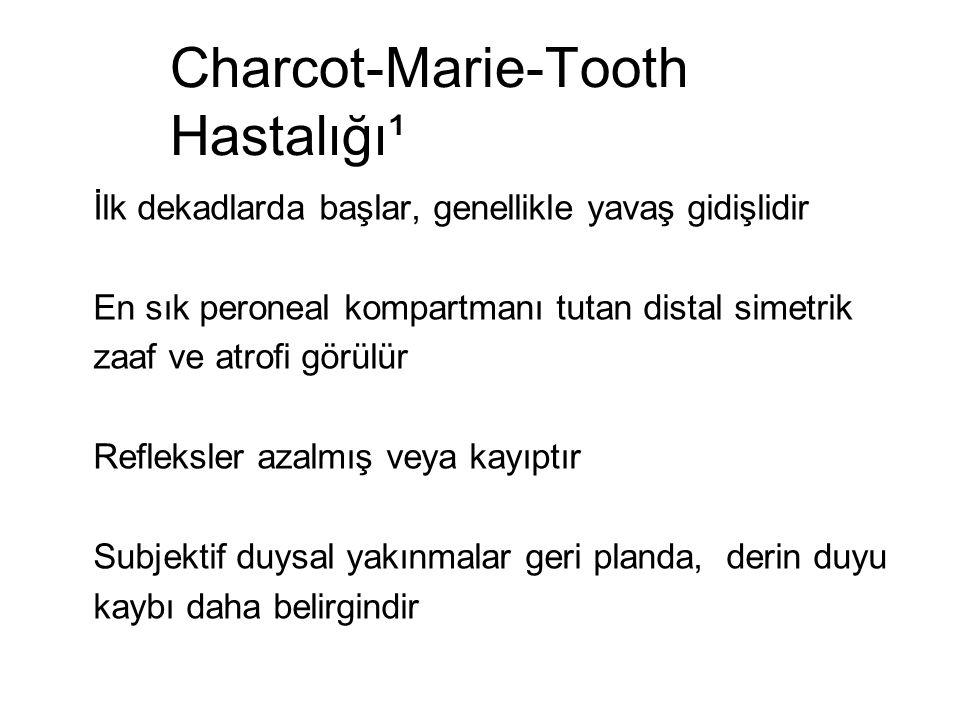 Charcot-Marie-Tooth Hastalığı¹ İlk dekadlarda başlar, genellikle yavaş gidişlidir En sık peroneal kompartmanı tutan distal simetrik zaaf ve atrofi gör