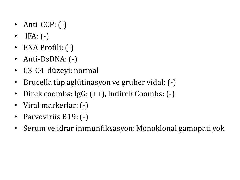 Anti-CCP: (-) IFA: (-) ENA Profili: (-) Anti-DsDNA: (-) C3-C4 düzeyi: normal Brucella tüp aglütinasyon ve gruber vidal: (-) Direk coombs: IgG: (++), İndirek Coombs: (-) Viral markerlar: (-) Parvovirüs B19: (-) Serum ve idrar immunfiksasyon: Monoklonal gamopati yok