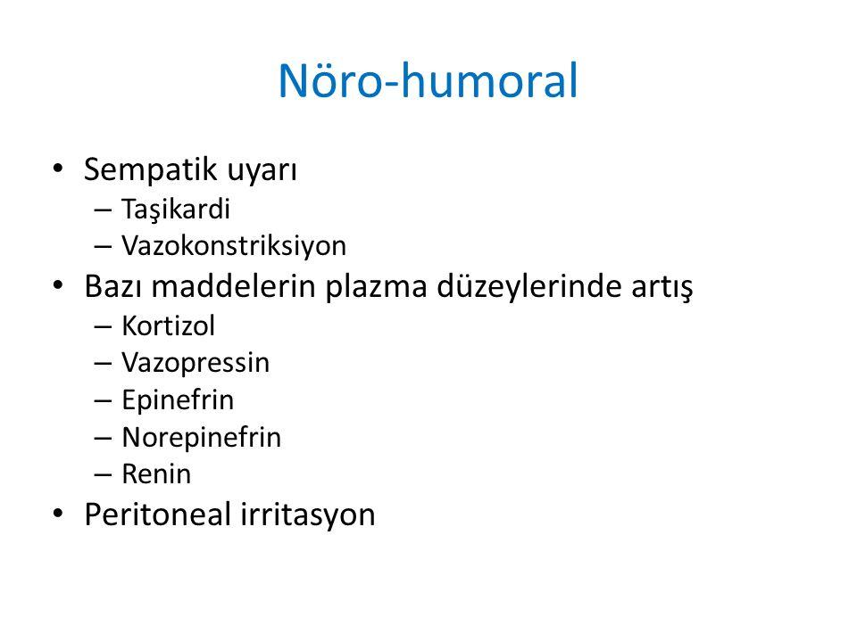 Nöro-humoral Sempatik uyarı – Taşikardi – Vazokonstriksiyon Bazı maddelerin plazma düzeylerinde artış – Kortizol – Vazopressin – Epinefrin – Norepinefrin – Renin Peritoneal irritasyon