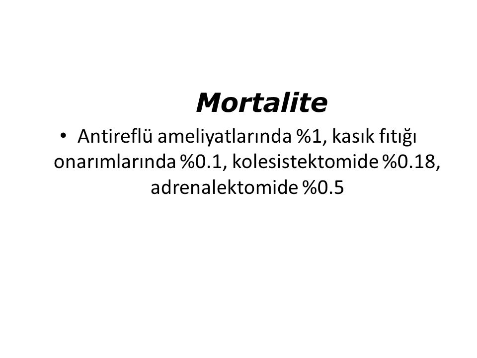 Mortalite Antireflü ameliyatlarında %1, kasık fıtığı onarımlarında %0.1, kolesistektomide %0.18, adrenalektomide %0.5