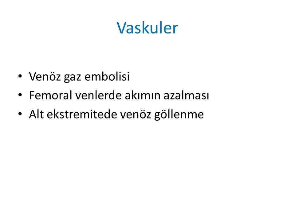 Vaskuler Venöz gaz embolisi Femoral venlerde akımın azalması Alt ekstremitede venöz göllenme
