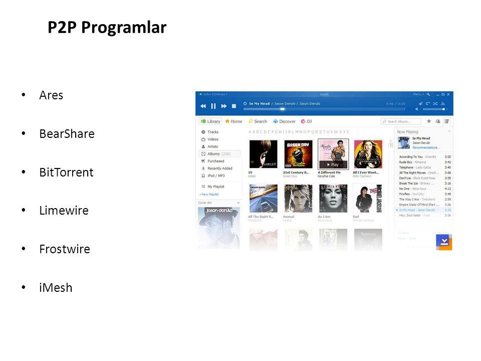 Ares BearShare BitTorrent Limewire Frostwire iMesh P2P Programlar